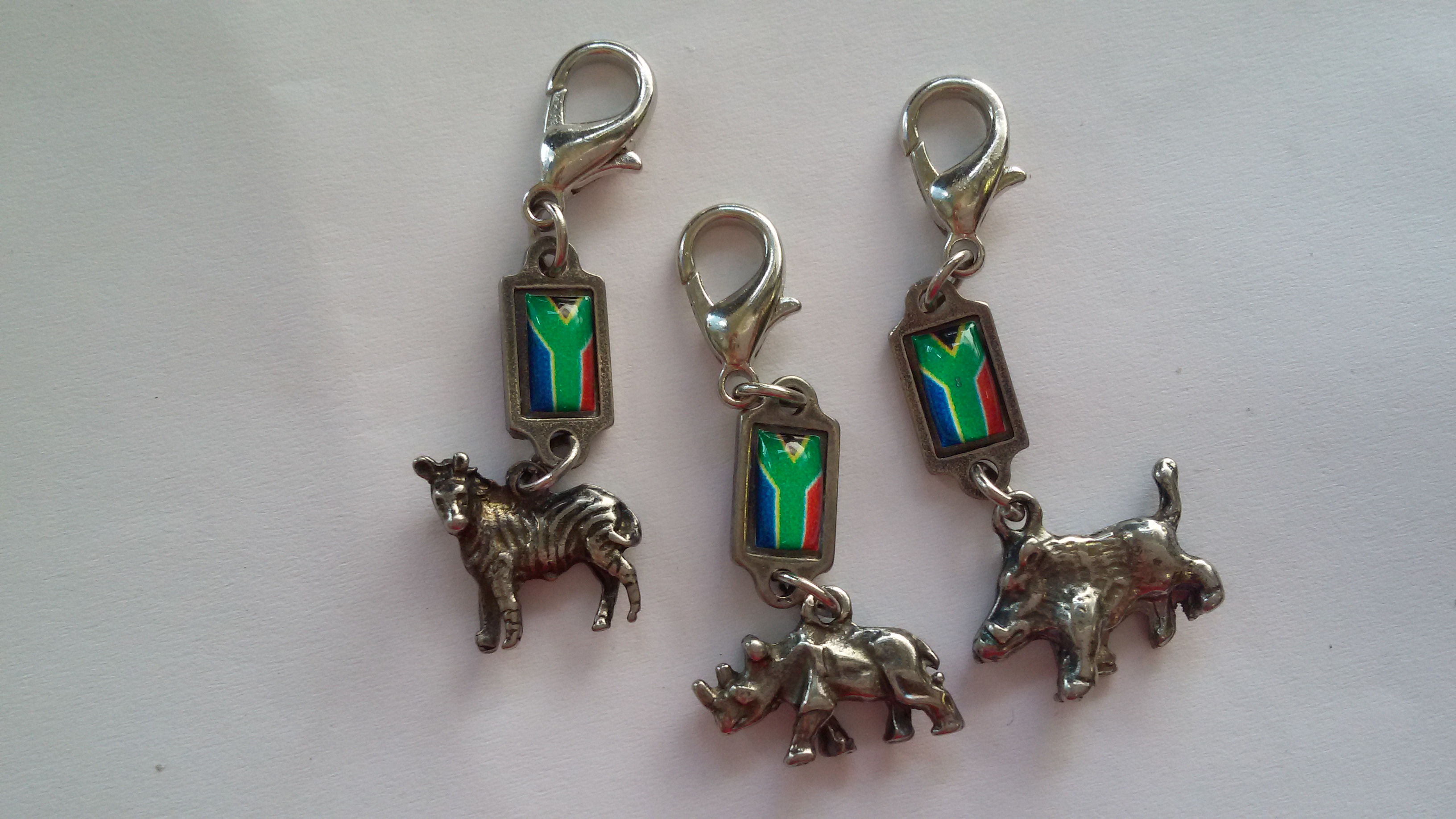 SA Flag Zipper Charms