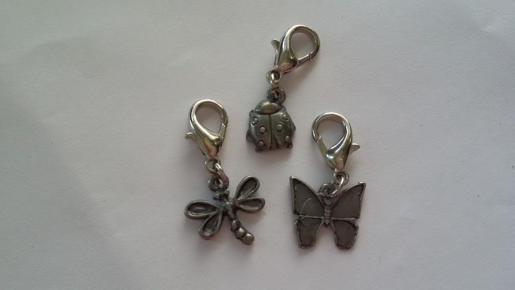 bugs beaded zipper charms set of 3