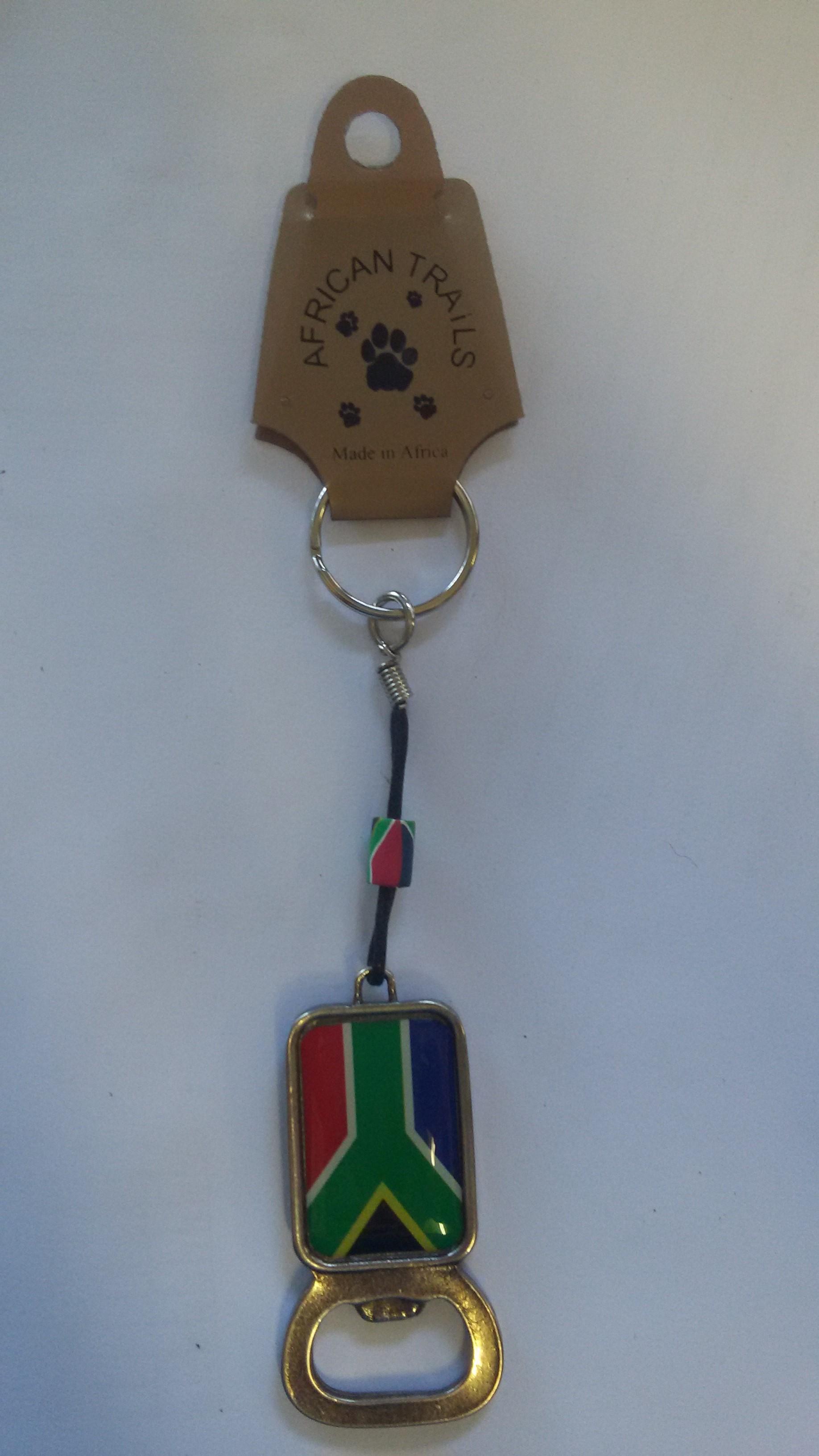 SA Flag Bottle Opener Key Rings
